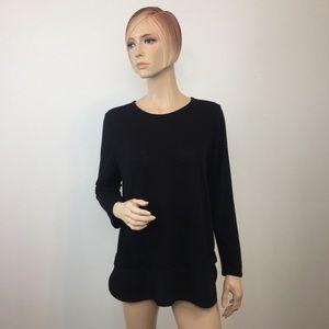 J. Crew Factory Black Shirttail-Hem Tee Medium